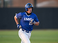 IMG Academy Ascenders Chase Ingram (20) rounds the bases after hitting a home run during a game against the Montverde Academy Eagles on April 8, 2021 at IMG Academy in Bradenton, Florida.  (Mike Janes/Four Seam Images)
