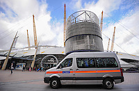 A Metropolitan Police van sits outside The O2 during Day One of the Barclays ATP World Tour Finals 2015 played at The O2, London on November 15th 2015