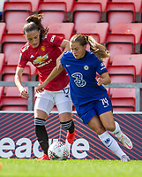 6th September 2020; Leigh Sports Village, Lancashire, England; Women's English Super League, Manchester United Women versus Chelsea Women; Ona Batlle of Manchester United Women tackles Fran Kirby of Chelsea Women