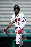 Modesto Nuts right fielder Kyle Lewis (2) walks back to the dugout after striking out during a California League game against the Lake Elsinore Storm at John Thurman Field on May 13, 2018 in Modesto, California. Lake Elsinore defeated Modesto 4-3. (Zachary Lucy/Four Seam Images)