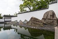 Suzhou, Jiangsu, China.  Interior Courtyard and Reflecting Pool, Suzhou Museum designed by I.M. Pei.