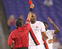 Patrick Viera #24 of Manchester City receives a red card from referee Baldomero Toledo in the first half of an international friendly match against Inter Milan on July 31 2010 at M&T Bank Stadium in Baltimore, Maryland.Milan won 3-0.