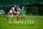 Kerry's Rachel McCarthy attempts to get past Megan Kerr and Orla McGuigan in the Intermediate Camogie championship