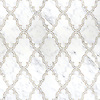 Dervish, a waterjet and hand-cut stone mosaic shown in polished Calacatta Tia, is part of the Silk Road® collection by New Ravenna.