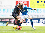 St Johnstone v Celtic…20.08.16..  McDiarmid Park  SPFL<br />Murray Davidson and Scvott Brown<br />Picture by Graeme Hart.<br />Copyright Perthshire Picture Agency<br />Tel: 01738 623350  Mobile: 07990 594431