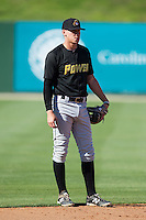 West Virginia Power shortstop JaCoby Jones (10) during batting practice prior to the game against the Kannapolis Intimidators at CMC-Northeast Stadium on April 17, 2014 in Kannapolis, North Carolina.  The Power defeated the Intimidators 4-3.  (Brian Westerholt/Four Seam Images)
