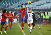 JACKSONVILLE, FL - NOVEMBER 10: Mallory Pugh #2 of the United States throws in ball past Shirley Cruz #10 of Costa Rica during a game between Costa Rica and USWNT at TIAA Bank Field on November 10, 2019 in Jacksonville, Florida.