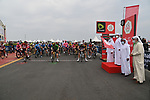 The leaders jerseys lined up for the start of Stage 5 of the 2021 UAE Tour running 170km from Fujairah to Jebel Jais, Fujairah, UAE. 25th February 2021. <br /> Picture: LaPresse/Gian Mattia D'Alberto   Cyclefile<br /> <br /> All photos usage must carry mandatory copyright credit (© Cyclefile   LaPresse/Gian Mattia D'Alberto)