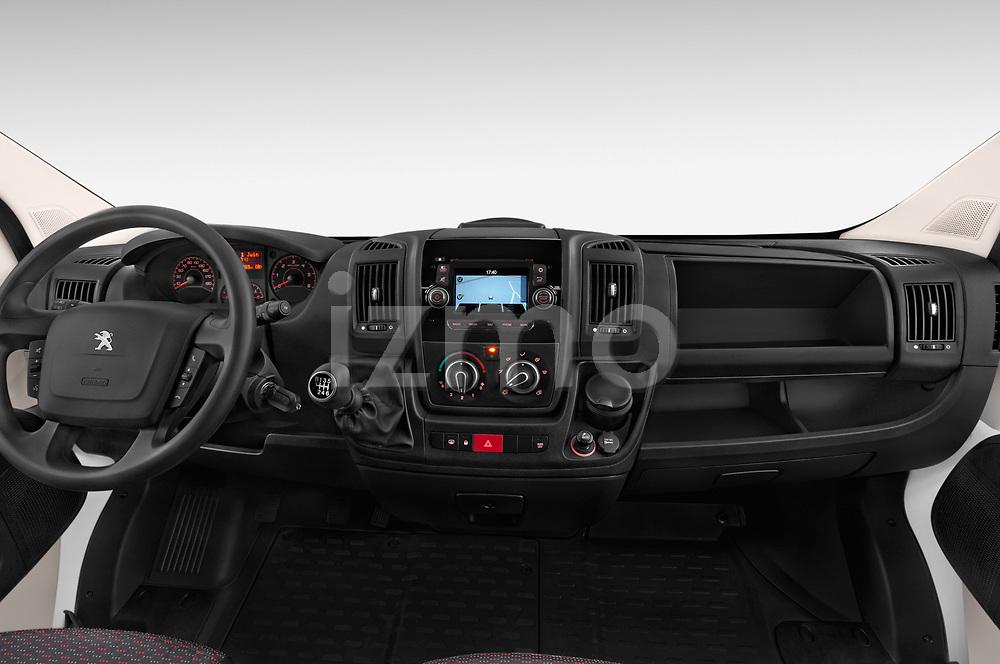 Stock photo of straight dashboard view of a 2018 Peugeot Boxer Pro 5 Door Cargo Van