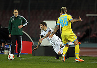 Thursday 27 February 2014<br /> Pictured L-R: Pablo Hernandez of Swansea is fouled by Valon Behrami of Napoli. <br /> Re: UEFA Europa League, SSC Napoli v Swansea City FC at Stadio San Paolo, Naples, Italy.