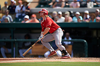 Florida Southern Moccasins third baseman Mitch Reeves (34) at bat during an exhibition game against the Detroit Tigers on February 29, 2016 at Joker Marchant Stadium in Lakeland, Florida.  Detroit defeated Florida Southern 7-2.  (Mike Janes/Four Seam Images)