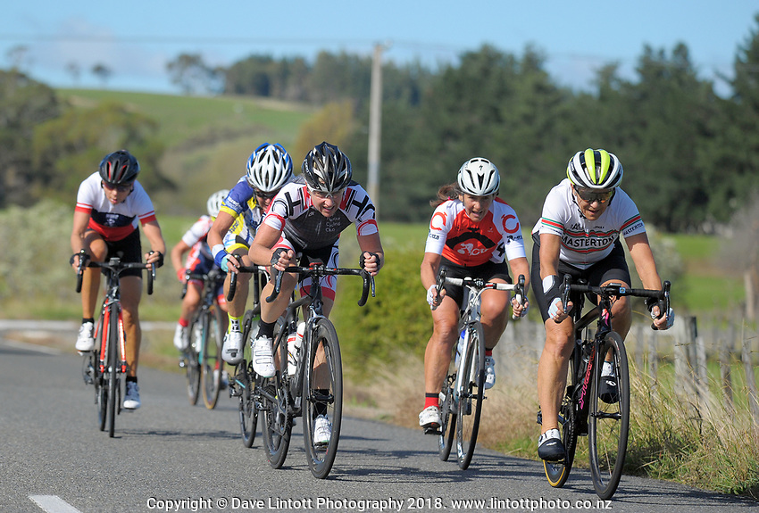 Masters women compete in the Millars Road circuit race on day two of the 2018 NZ Age Group Road Cycling Championships in Carterton, New Zealand on Saturday, 21 April 2018. Photo: Dave Lintott / lintottphoto.co.nz