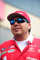 Jul. 1, 2012; Joliet, IL, USA: NHRA funny car driver Cruz Pedregon during the Route 66 Nationals at Route 66 Raceway. Mandatory Credit: Mark J. Rebilas-