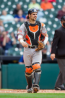 Sam Houston State Bearkats catcher Anthony Azar #20 on defense against the Texas Christian Horned Frogs at Minute Maid Park on February 28, 2014 in Houston, Texas.  The Bearkats defeated the Horned Frogs 9-4.  (Brian Westerholt/Four Seam Images)