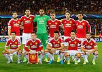 Belgie, Brugge, 26 augustus 2015<br /> Champions League play offs<br /> Seizoen 2015-2016<br /> Club Brugge-Manchester United (0-4)<br /> Elftalfoto van Manchester United. Met Daley Blind (l.) en Memphis Depay (r.)