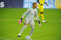 WASHINGTON, DC - OCTOBER 28: Eloy Room #1 of Columbus Crew SC moves the ball during a game between Columbus Crew and D.C. United at Audi Field on October 28, 2020 in Washington, DC.