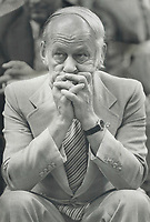 1980 FILE PHOTO - ARCHIVES -<br /> <br />  Premier Rene Levesque <br /> , referendum night<br /> 1980<br /> <br /> PHOTO : Boris Spremo - Toronto Star Archives - AQP