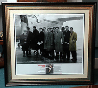 Pictured: The commemorative frame showing the players boarding the tragic Munich air disaster aeroplane, Kenny Moorgan shown far RIGHT. Monday 14 November 2011<br />