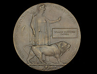 BNPS.co.uk (01202 558833)<br /> Pic: DixNoonanWebb/BNPS<br /> <br /> Pictured: William Tapsell's memorial plaque.<br /> <br /> The heroism of a Tommy who rescued 19 comrades buried in dugout after a shell attack can be revealed after his medals sold for £10,000.<br /> <br /> Second Lieutenant William Tapsell, of the 2nd Battalion, Lincolnshire Regiment, went to their aid after a German gas shell attack on the Western Front in the summer of 1917.<br /> <br /> He started digging out men wearing a gas helmet but because of the darkness was struggling to see so he took it off.<br /> <br /> By doing so he risked his own life as six of the men trapped were killed by lethal fumes.