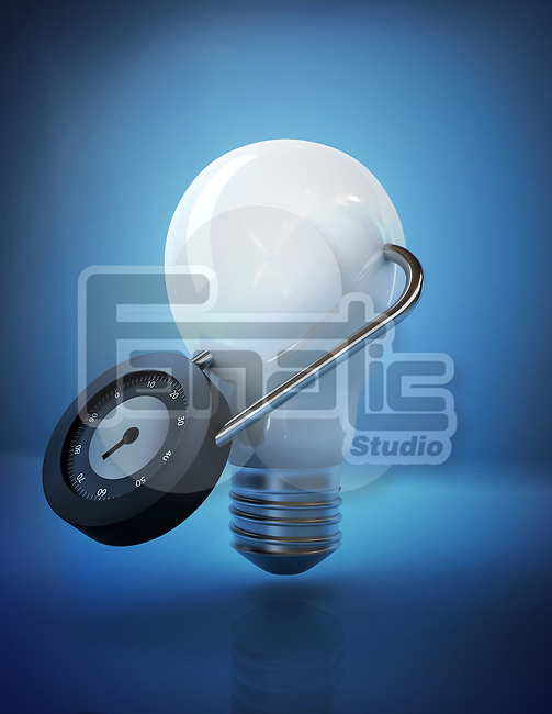 Illustrative image of light bulb locked with padlock representing security of ideas