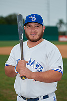 Dunedin Blue Jays Alejandro Kirk (26) poses for a photo before a Florida State League game against the Jupiter Hammerheads on May 14, 2019 at Jack Russell Memorial Stadium in Clearwater, Florida.  The game was postponed due to wet grounds.  (Mike Janes/Four Seam Images)