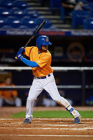 St. Lucie Mets second baseman Luis Carpio (11) at bat during the second game of a doubleheader against the Charlotte Stone Crabs on April 24, 2018 at First Data Field in Port St. Lucie, Florida.  St. Lucie defeated Charlotte 6-5.  (Mike Janes/Four Seam Images)