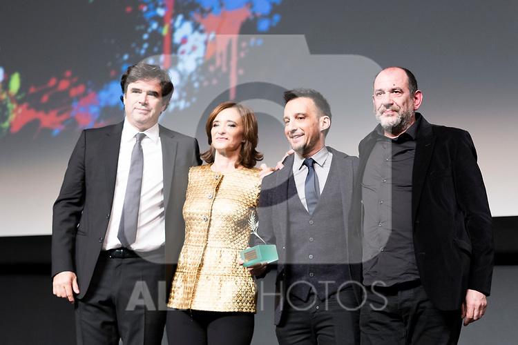 Producer Fernando Bovaira, actors Ana Torrent and Karra Elejalde and the director Alejandro Amenabar during Spanish Cinema Gala at 64 Seminci Cinema Festival. October 22,2019. (ALTERPHOTOS/IVAN TOME)