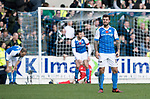 St Johnstone v Celtic…04.11.17…  McDiarmid Park…  SPFL<br />Richie Foster shows his frustration as saints concede a second goal<br />Picture by Graeme Hart. <br />Copyright Perthshire Picture Agency<br />Tel: 01738 623350  Mobile: 07990 594431