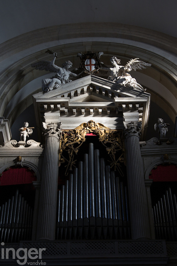 The organ inside San Giorgio Church, Venice, Italy