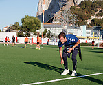 08.07.2019: Rangers press conference, Gibraltar: Andy Halliday inspecting the surface