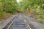 Crawford Notch State Park - Train tracks near Frankenstein Cliff Trail during the autumn months in the White Mountains, New Hampshire USA.