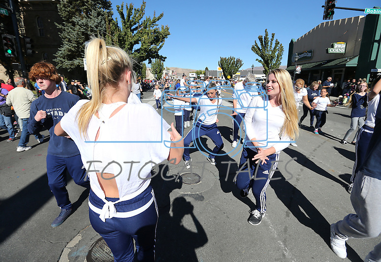 Western Nevada Performing Arts dancers entertain the crowd at the Nevada Day parade in Carson City, Nev., on Saturday, Oct. 31, 2015. <br /> Photo by Cathleen Allison