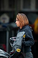 Sep 14, 2019; Mohnton, PA, USA; NHRA pro stock motorcycle rider Jianna Salinas during qualifying for the Reading Nationals at Maple Grove Raceway. Mandatory Credit: Mark J. Rebilas-USA TODAY Sports