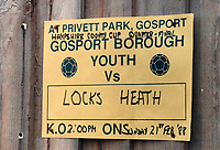 Matchday poster at Gosport Borough FC, Privett Park, Gosport, Hampshire, pictured on 21st February 1988