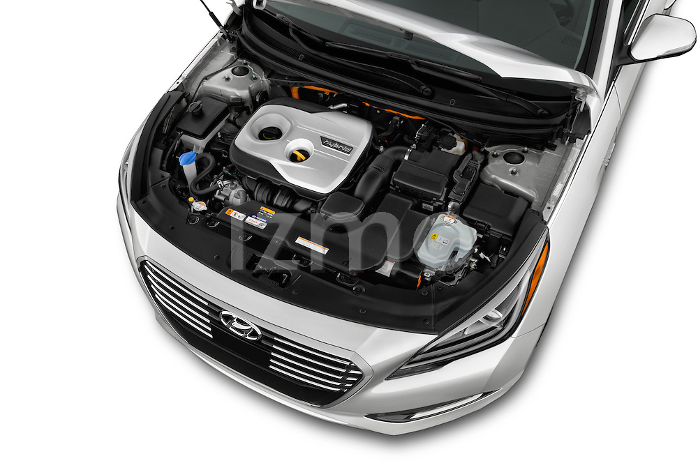 Car Stock 2016 Hyundai Sonata-Plug-in-Hybrid Limited 4 Door Sedan Engine  high angle detail view