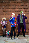 © Joel Goodman - 07973 332324. 30/07/2017 . Manchester , UK . The Joker takes a cigarette break . Cosplayers, families and guests at Comic Con at the Manchester Central Convention Centre . Photo credit : Joel Goodman