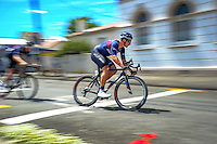 Alex Frame (JLT Condor) races through the Martinborough Square during stage three of the NZ Cycle Classic UCI Oceania Tour in Wairarapa, New Zealand on Tuesday, 24 January 2017. Photo: Dave Lintott / lintottphoto.co.nz