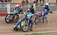 Heat 8: Tom Brennan (yellow), Kelsey Dugard (white) and George Hunter (red)<br /> <br /> Photographer Rob Newell/CameraSport<br /> <br /> National League Speedway - Lakeside Hammers v Eastbourne Eagles - Lee Richardson Memorial Trophy, First Leg - Friday 14th April 2017 - The Arena Essex Raceway - Thurrock, Essex<br /> © CameraSport - 43 Linden Ave. Countesthorpe. Leicester. England. LE8 5PG - Tel: +44 (0) 116 277 4147 - admin@camerasport.com - www.camerasport.com