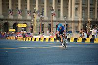 David Millar (GBR) (& Juan Antonio Flecha hidden behind him) putting up an escape show on the Champs-Elysées<br /> <br /> Tour de France 2013<br /> (final) stage 21: Versailles - Paris Champs-Elysées<br /> 133,5km
