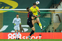 20th April 2021; Carrow Road, Norwich, Norfolk, England, English Football League Championship Football, Norwich versus Watford; Francisco Sierralta of Watford suffers an injury after colliding with Jordan Hugill of Norwich City