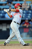 Hagerstown Suns shortstop Stephen Perez #10 swings at a pitch during a game against the Asheville Tourists at McCormick Field on May 28, 2013 in Asheville, North Carolina. The Tourists won the game 9-4. (Tony Farlow/Four Seam Images)