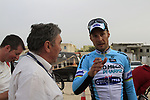 Tom Boonen (BEL) Omega Pharma-Quick Step chats to race organiser multiple champion Eddy Merckx at the end of Stage 3 of the 2012 Tour of Qatar running 146.5km from Dukhan Souq, Dukhan to Al Gharafa, Qatar. 7th February 2012.<br /> (Photo Eoin Clarke/Newsfile)