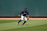 Houston Astros center fielder Pedro Leon (98) during a Major League Spring Training game against the Miami Marlins on March 21, 2021 at Roger Dean Stadium in Jupiter, Florida.  (Mike Janes/Four Seam Images)