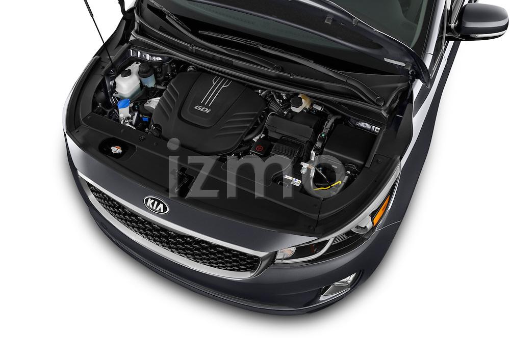 Car Stock 2015 KIA Sedona EX 5 Door Minivan Engine high angle detail view