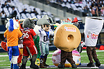 Dallas Cowboys mascot, Rowdy, in action with friends during the pre-season game between the Baltimore Ravens and the Dallas Cowboys at the AT & T stadium in Arlington, Texas. Baltimore defeats Dallas  37-30.