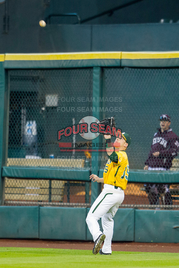 Baylor Bears outfielder Adam Toth (15) makes a catch during the Houston College Classic against the Texas A&M Aggies on March 8, 2015 at Minute Maid Park in Houston, Texas. Texas A&M defeated Baylor 3-2. (Andrew Woolley/Four Seam Images)