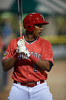 Batavia Muckdogs designated hitter Jerar Encarnacion (27) on deck during a game against the Williamsport Crosscutters on June 21, 2018 at Dwyer Stadium in Batavia, New York.  Batavia defeated Williamsport 6-5.  (Mike Janes/Four Seam Images)