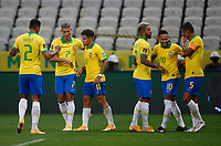 9th October 2020; Arena Corinthians, Sao Paulo, Sao Paulo, Brazil; FIFA World Cup Football Qatar 2022 qualifiers; Brazil versus Bolivia; Players of Brazil celebrates scored goal by Philippe Coutinho in the 73th minute 5-0