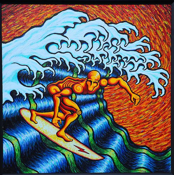 "Dec. 3. 2020. Vista. | Surfer 3. Artist J. Scott Lytle. Acrylic on board. 48"" X 48"". |Jamie Scott Lytle. Copyright."