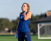 ORLANDO, FL - JANUARY 21: Julie Ertz #8 of the USWNT laughs during a training session at the practice fields on January 21, 2021 in Orlando, Florida.